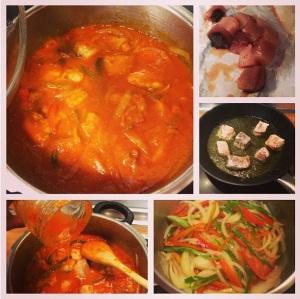 bonito con salsa de tomate y verduras